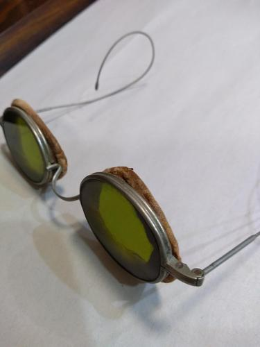 French Round Metal Green Glass Sunglasses (1 of 3)