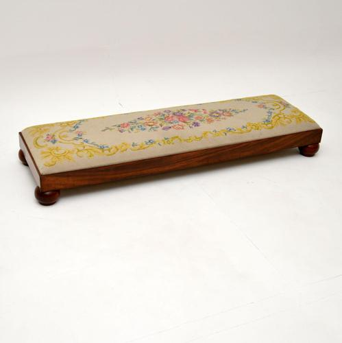 Antique Victorian Solid Walnut Needlepoint Foot Stool (1 of 12)
