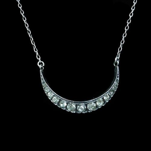 """Antique Victorian Paste Crescent Moon Sterling Silver Conversion Necklace 16"""" (1 of 9)"""