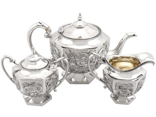 Chinese Export Silver Three Piece Tea Service - Antique c.1900 (1 of 12)