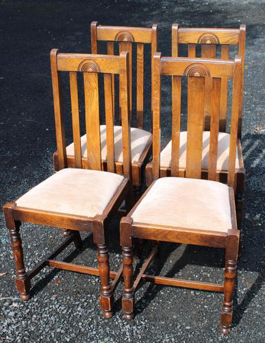 1930s Set 4 0ak Highback Dining Chairs with Pop Out Seats (1 of 4)