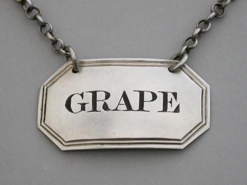 George IV Silver Wine Label Grape. By George Knight, London, 1821 (1 of 6)