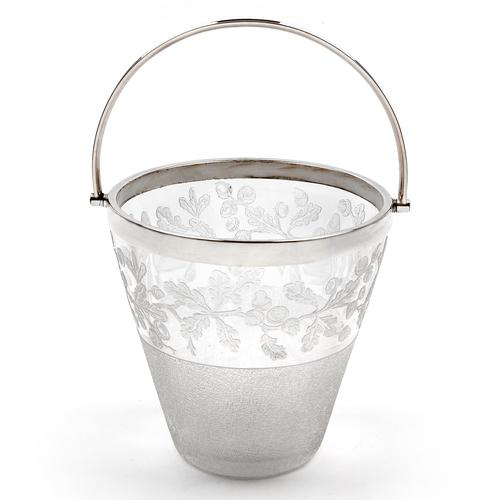 Decorative Victorian Silver Plated & Glass Ice Pail Etched with Oak Leaves (1 of 3)