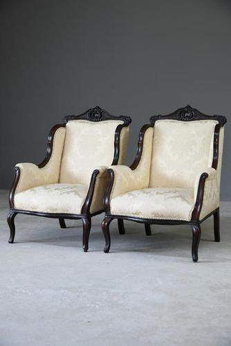 Pair of Edwardian Upholstered Armchairs (1 of 12)