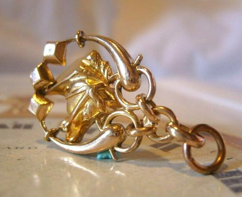 Victorian Pocket Watch Chain Horse & Pony Fob 1890s 10ct Rose Gold Filled Equestrian Fob (1 of 9)