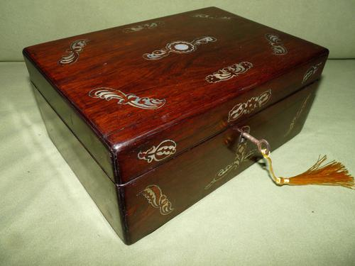 Inlaid Rosewood Jewellery / Table Box c.1860 (1 of 8)