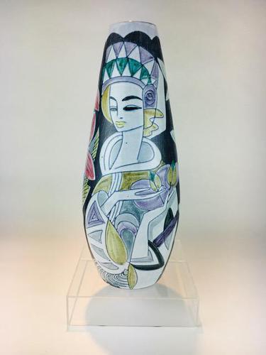 Fabulous Marian Zawadzki for Tilgmans Hand Painted Swedish Ceramic Vase c.1960s (1 of 13)