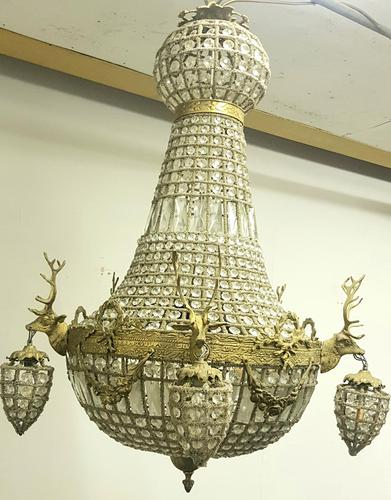 20th Century French Stags Head Ornate Chandelier (1 of 13)