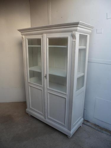A Trendy Victorian White 2 Door Antique/Old Pine Glazed Kitchen Dresser/ Cabinet (1 of 11)