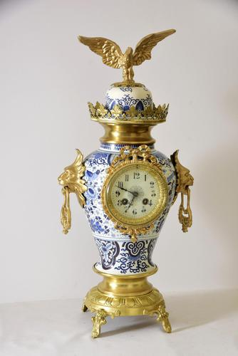 Delft-ware Vase or Urn Table Clock (1 of 5)