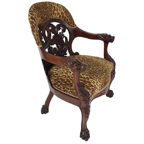 Mid-19th Century French Carved Walnut Desk Chair (1 of 12)