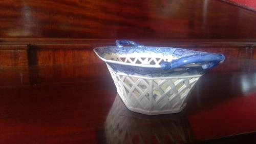Antique Davenport Pottery Pearlware Latticed Worked Chestnut Basket (1 of 7)