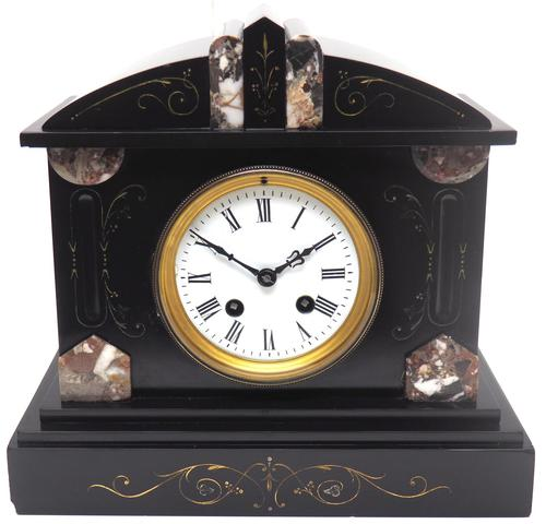 Fine Antique French Slate Mantel Clock - Bell Striking 8-day Mantle Clock c.1900 (1 of 12)