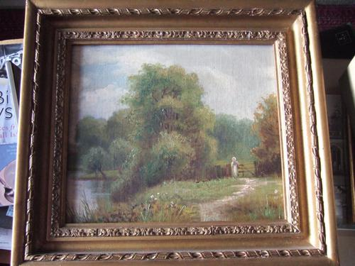 Early 20th century oil painting on board of young woman in rural landscape (1 of 5)