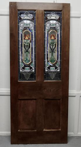Victorian Art Nouveau Stained Glass Panel Door (1 of 9)