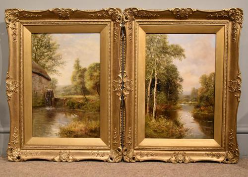 "Oil Painting by John Bonny ""Swans on the Water"" & ""Ducks on the Mill"" (1 of 8)"