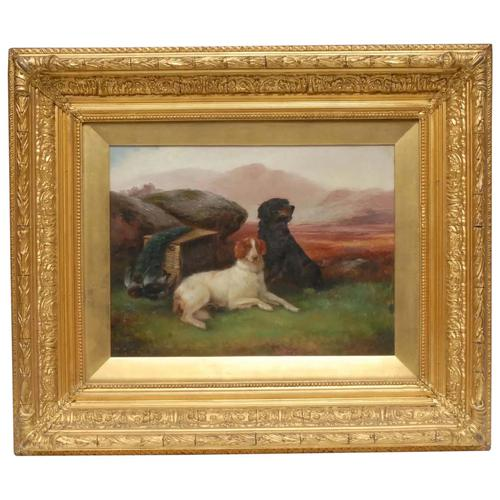 "Victorian Oil Painting Hunting ""Game Dogs"" Signed Robert Cleminson (1 of 29)"