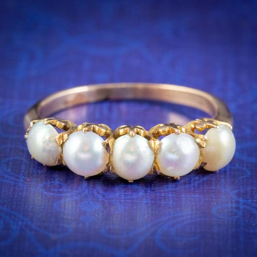 Antique Victorian Pearl Ring 15ct Gold c.1900 (1 of 6)