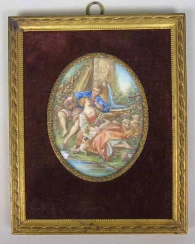 Beautiful Miniature Painting after Boucher Courting Couple (1 of 5)