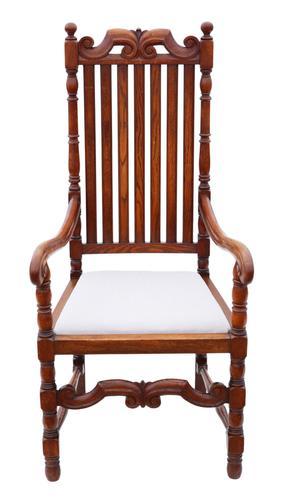 Oak Armchair Elbow Desk Chair C1915 Charles II Style (1 of 8)