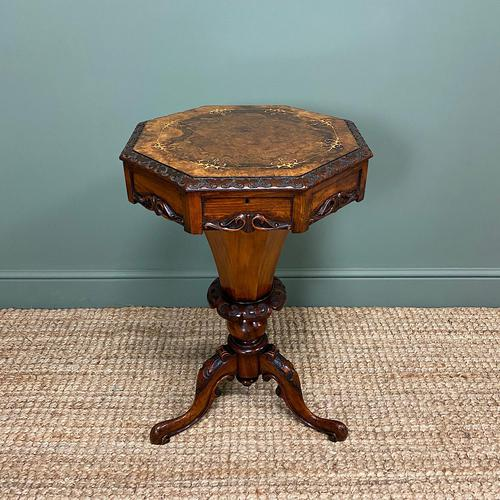 Fine Quality Victorian Figured Walnut Antique Work Box (1 of 9)