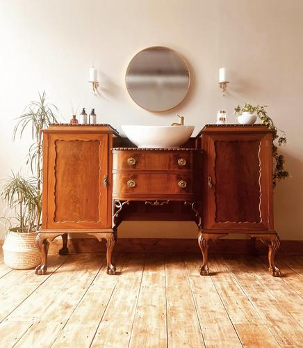 French Antique Style Washstand / Vanity / Cupboard With Basin Sink (1 of 8)