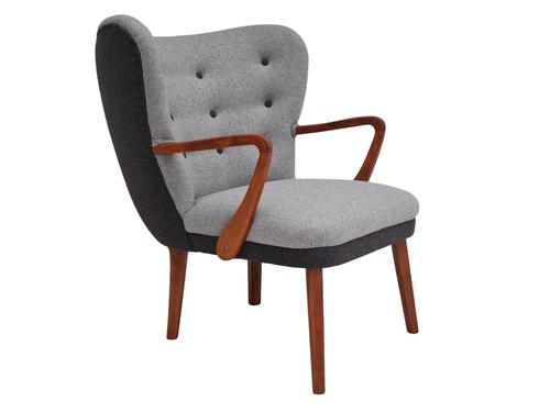 Danish lounge armchair, 60s, furniture wool, completely reupholstered (1 of 17)