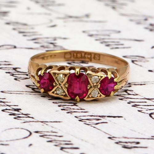 The Antique 1917 Ruby & Diamond Gold Ring (1 of 3)