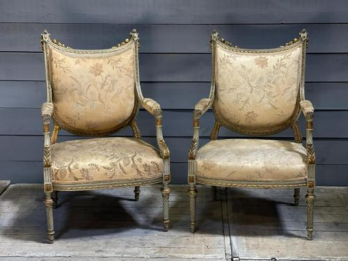 Super Pair of French Upholstered Armchairs (1 of 26)