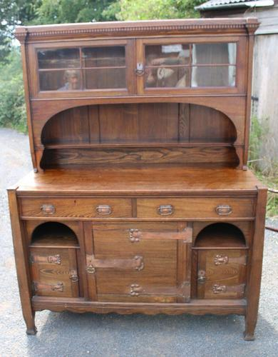 1920s Large Oak Carved Buffet with Display Cupboards (1 of 7)