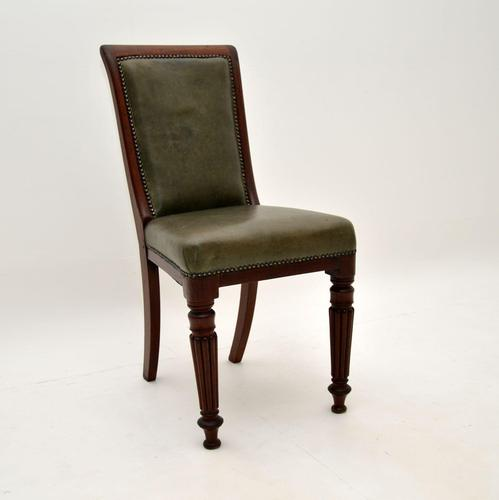 Antique Victorian Solid Mahogany & Leather Desk / Side Chair (1 of 10)