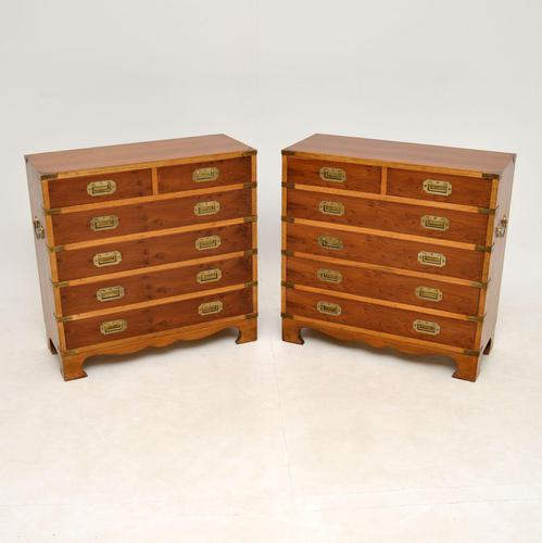 Pair of Yew Wood Military Campaign Style Chests (1 of 14)