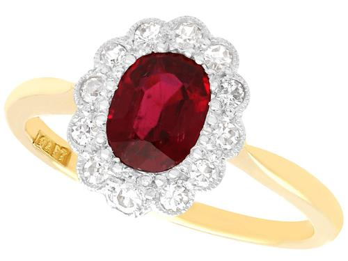 1.03ct Thai Ruby & 0.28ct Diamond, 18ct Yellow Gold Cluster Ring c.1930 (1 of 12)