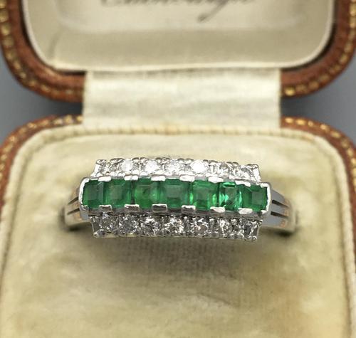 Platinum Set Emeralds & Diamonds Ring (1 of 11)