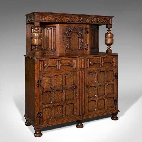Antique Carved Court Cabinet, English, Oak, Sideboard, Jacobean Revival c.1910 (1 of 12)