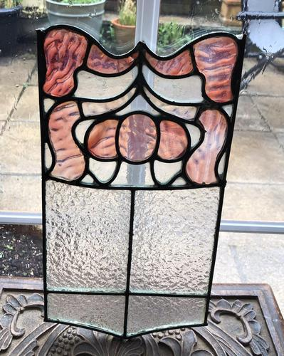 Antique Stained Glass Panel with Pink Glass Detail (1 of 10)
