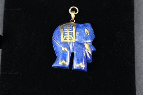 Chinese Gold Mounted Lapis Lazuli Elephant Pendant (1 of 2)