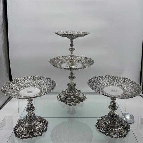 Mid 19th Century Antique Victorian Sterling Silver Suite Comports London 1862 Robert Garrard (1 of 12)