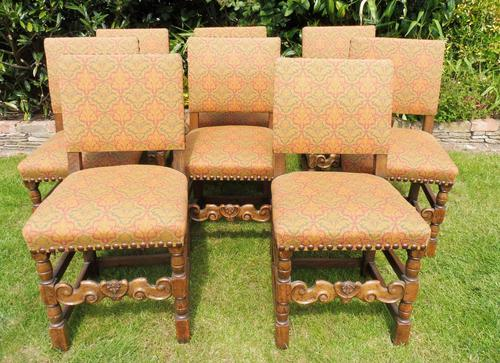 8 Waring & Gillow Chairs Oak William Morris Fabric (1 of 10)