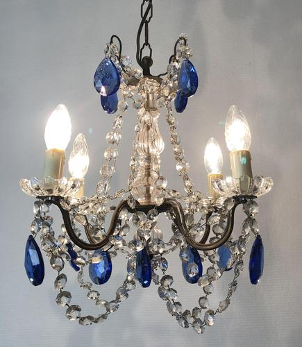 Vintage French Chandelier 4 Arm Crystal Ceiling Light with Sapphire Blue Glass (1 of 13)