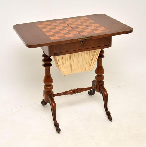 Antique Victorian Walnut Games / Chess Table (1 of 12)