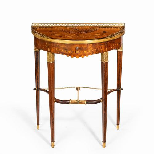 French demi-lune rosewood bow and arrow table by Georges-François Alix (1 of 11)