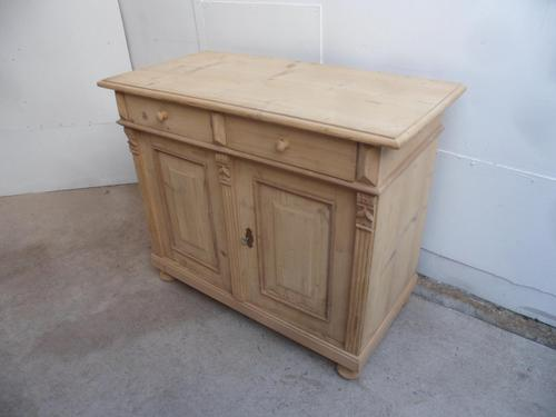 Mint Clean Antique Pine 2 Door 2 Drawer Dresser Base / TV Stand to wax / paint (1 of 11)
