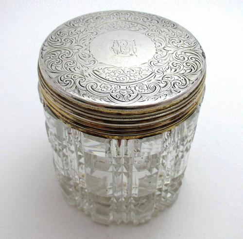 Antique Victorian 1863 Solid Sterling Silver Gilt Lidded Top & Cut Glass Vanity Trinket Dressing Table Box Jar Pot Bottle Container (1 of 8)