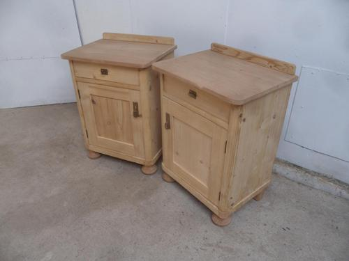 Small & Low Pair of Victorian Antique Pine Bedside Cabinets to wax / paint (1 of 9)