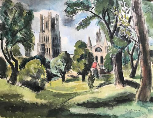 Original mixed media painting 'Ely' by Toby Horne Shepherd 1909-1993. Signed c.1955 (1 of 1)