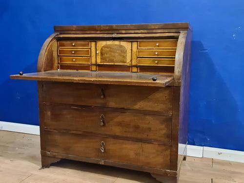Biedermeir Mahogany Veneered Cylinder Bureau Desk 19th Century (1 of 14)