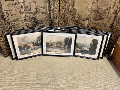 Fabulous Set of 11 Coloured Prints of the River Thames (1 of 14)
