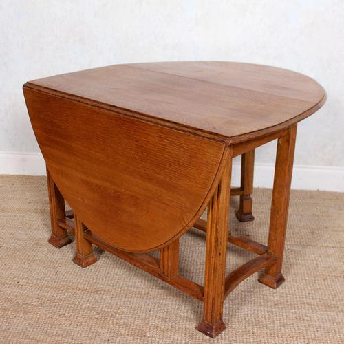 Oak Gateleg Dining Table Carved Solid Folding Kitchen Table (1 of 15)