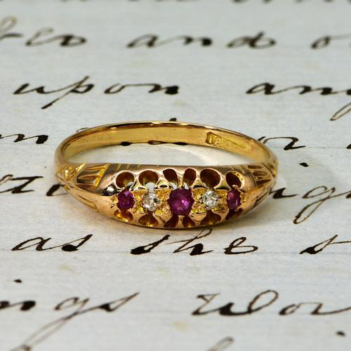 The Early 20th Century Ruby & Old European Cut Diamond Ring (1 of 3)